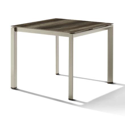 Sieger Tischsystem, Gestell Aluminium champagner, Tischplatte HPL (Polytec) Eiche dunkel, 90x90 cm