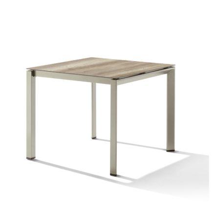 Sieger Tischsystem, Gestell Aluminium champagner, Tischplatte HPL (Polytec) Eiche hell, 90x90 cm