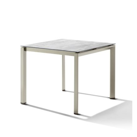 Sieger Tischsystem, Gestell Aluminium champagner, Tischplatte HPL (Polytec) Moon, 90x90 cm