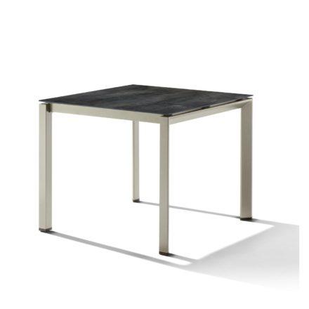 Sieger Tischsystem, Gestell Aluminium champagner, Tischplatte HPL (Polytec) zement anthrazit, 90x90 cm