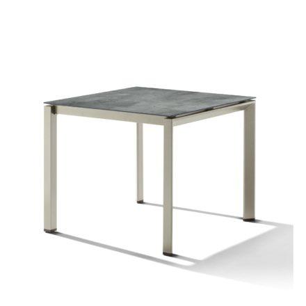 Sieger Tischsystem, Gestell Aluminium champagner, Tischplatte HPL (Polytec) Zement graphit, 90x90 cm