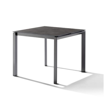 Sieger Tischsystem, Gestell Aluminium eisengrau, Tischplatte HPL (Polytec) Beton dunkel, 90x90 cm