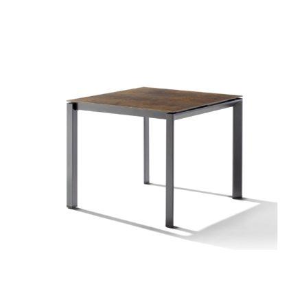 Sieger Tischsystem, Gestell Aluminium eisengrau, Tischplatte HPL (Polytec) Bronze, 90x90 cm