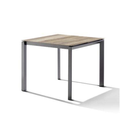 Sieger Tischsystem, Gestell Aluminium eisengrau, Tischplatte HPL (Polytec) Eiche hell, 90x90 cm
