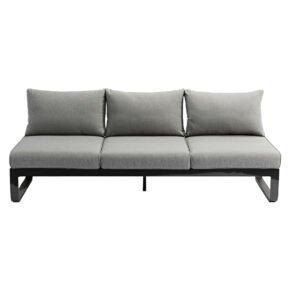 "Zebra ""Fly Lounge"" 3-Sitzer Sofa, beidseitig verstellbar, Gestell Aluminium graphite, Kissen mixed grey"