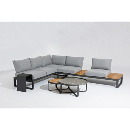 """Zebra """"Fly Lounge"""" Loungegruppe mit Loungetisch und Beistelltisch, Gestell Aluminium graphite, Kissenfarbe mixed grey"""