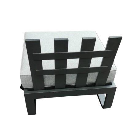 """Zebra """"Fly Lounge"""" Hocker, Aluminium graphite, Kissen mixed grey, hier mit Rückenlehne (separat erhältlich)"""