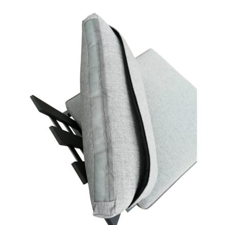 """Zebra """"Fly Lounge"""" Hocker, Aluminium graphite, Kissen mixed grey, hier mit Rückenlehne & -kissen (separat erhältlich), Unterseite Kissen mit Reißverschluss"""