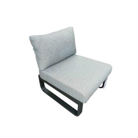 """Zebra """"Fly Lounge"""" Hocker, Aluminium graphite, Kissen mixed grey, hier mit Rückenlehne & -kissen (separat erhältlich)"""
