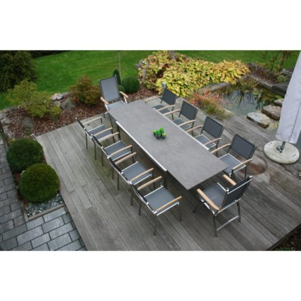 """Zebra Gartenmöbel-Set mit Stuhl """"Pontiac"""" und Tisch """"Kubex"""", Edelstahl/HPL"""