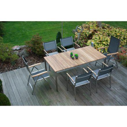 """Zebra Gartenmöbel-Set mit Stuhl """"Pontiac"""" in der Farbe argenta und Tisch """"Naxos"""" 180x100 cm, Teaktischplatte, Material: Edelstahl"""