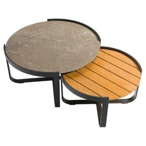 """Zebra """"Fly Lounge"""" 2er-Tischset, Gestell Aluminium, Tischplatten Teak und Glas-Keramik"""