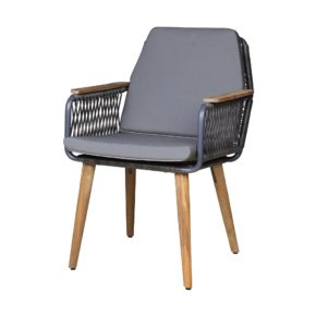 """Zebra """"Flix"""" Dining Sessel, Gestell Aluminium Night Grey, Beine und Armlehnen aus Teakholz recycelt, Sitz- und Rückenfläche Polyrattan Brown Brushed"""