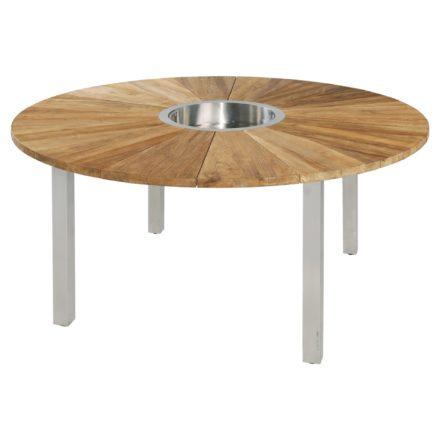"""Zebra """"Onyx"""" Gartentisch, Gestell Edelstahl, Tischplatte Teakholz recycelt mit Sektkühler"""