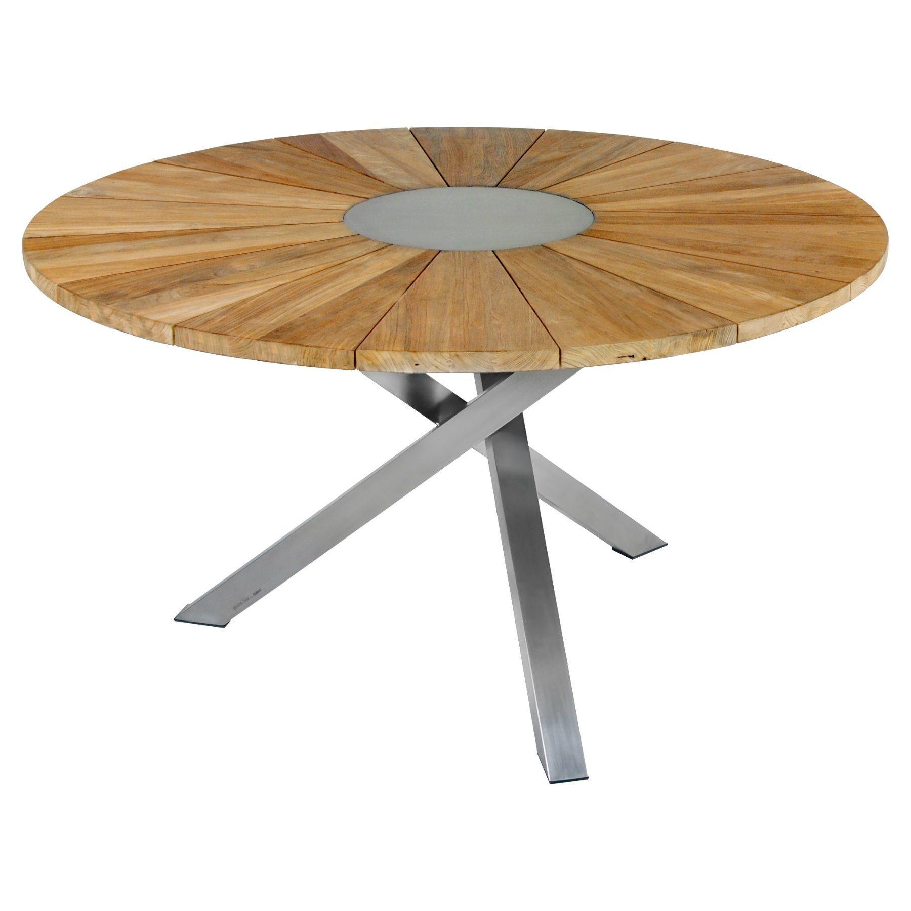 """Zebra """"Oryx"""" Gartentisch, Gestell Edelstahl, Tischplatte Teakholz recycelt, Durchmesser 135 cm"""