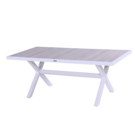 "Hartman ""Canterbury"" Gartentisch 188 x 96 cm, Gestell Aluminium weiß, Tischplatte Keramik beige wood"