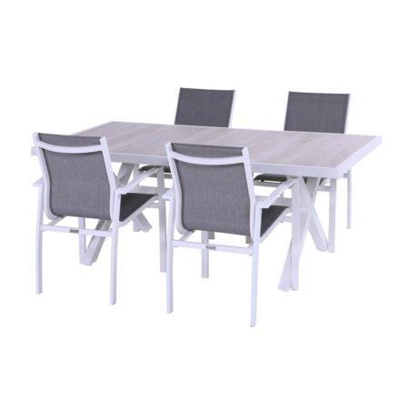 """Hartman """"Canterbury"""" Gartenstuhl und Gartentisch 188 x 96 cm, Gestell Aluminium weiß, Tischplatte Keramik beige wood"""