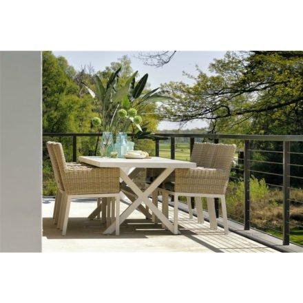 "Hartman ""Canterbury"" Gartentisch 247 x 96 cm, Gestell Aluminium weiß, Tischplatte Keramik beige wood"