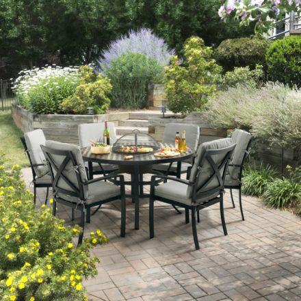"""Hartman """"Jamie Oliver"""" Gartenmöbel-Set, bestehend aus Tisch und sechs Stapelsesseln, Gestell Aluminium"""