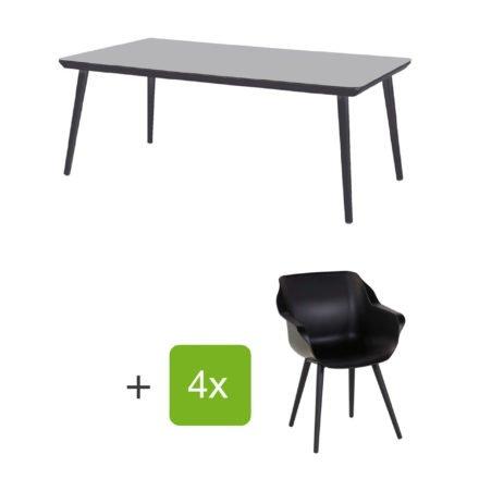 """Hartman Gartenmöbel-Set mit Stuhl und Gartentisch """"Sophie Studio"""", Gestelle Aluminium carbon black, Sitz Kunststoff carbon black, Tischplatte HPL black"""