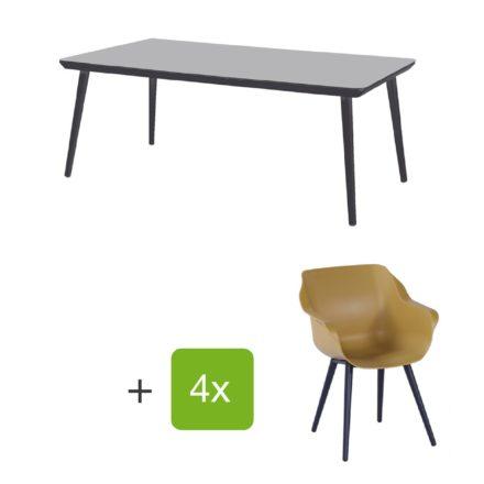 """Hartman Gartenmöbel-Set mit Stuhl und Gartentisch """"Sophie Studio"""", Gestelle Aluminium carbon black, Sitz Kunststoff yellow curry, Tischplatte HPL black"""
