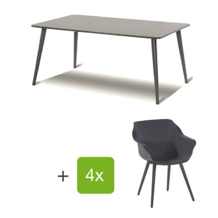 """Hartman Gartenmöbel-Set mit Stuhl und Gartentisch """"Sophie Studio"""", Gestelle Aluminium xerix, Sitz Kunststoff xerix, Tischplatte HPL anthrazit"""