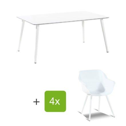 """Hartman Gartenmöbel-Set mit Stuhl und Gartentisch """"Sophie Studio"""", Gestelle Aluminium royal white, Sitz Kunststoff royal white, Tischplatte HPL white"""