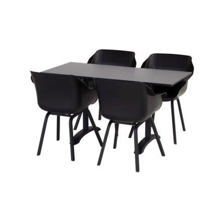 """Hartman """"Sophie Element"""" Armchair, Gestell Aluminium carbon black, Sitzschale carbon black mit """"Sophie"""" Bistrotisch, Gestell Aluminium carbon black, HPL-Platte"""