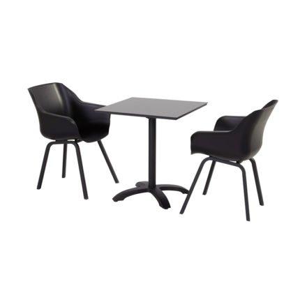 "Hartman ""Sophie Element"" Armchair, Gestell Aluminium carbon black, Sitzschale carbon black mit ""Sophie"" Bistrotisch"