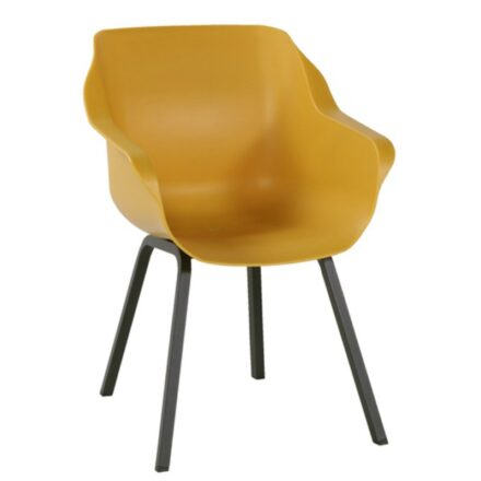 "Hartman ""Sophie Element"" Armchair, Gestell Aluminium carbon black, Sitzschale Kunststoff curry yellow"