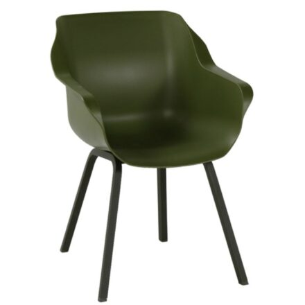 "Hartman ""Sophie Element"" Armchair, Gestell Aluminium carbon black, Sitzschale Kunststoff moss green"