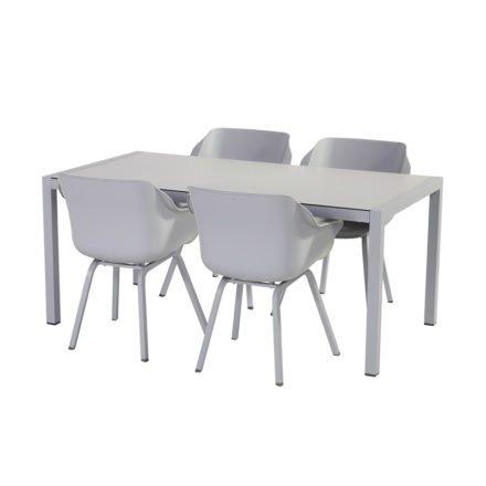 "Hartman ""Sophie Element"" Armchair, Gestell Aluminium misty grey, Sitzschale Kunststoff misty grey mit ""Sophie Element"" Gartentisch, Gestell Aluminium misty grey, HPL-Platte"