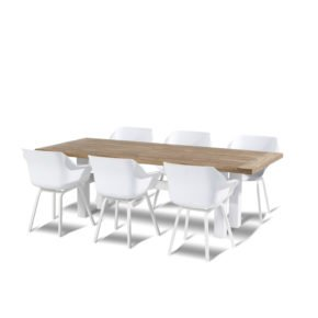"Hartman ""Sophie Element"" Armchair, Gestell Aluminium royal white, Sitzschale Kunststoff royal white mit ""Sophie Yasmani"" Gartentisch, Gestell Aluminium white, Teakplatte"