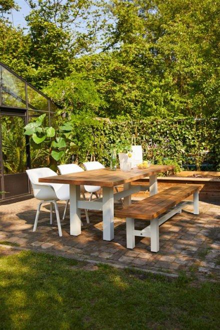 """Hartman """"Sophie Element"""" Armchair, Gestell Aluminium royal white, Sitzschale Kunststoff royal white mit """"Sophie Yasmani"""" Gartentisch und Gartenbank"""