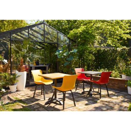 "Hartman ""Sophie Element"" Dining Chair, Gestell Aluminium carbon black, Sitzschale curry yellow und vulcano red"
