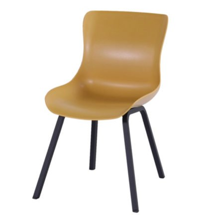 "Hartman ""Sophie Element"" Dining Chair, Gestell Aluminium carbon black, Sitzschale curry yellow"