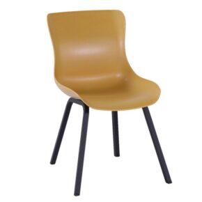 "Hartman ""Sophie Element"" Dining Chair, Gestell Aluminium carbon black, Sitzschale curry yellow"