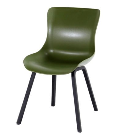 "Hartman ""Sophie Element"" Dining Chair, Gestell Aluminium carbon black, Sitzschale moss green"