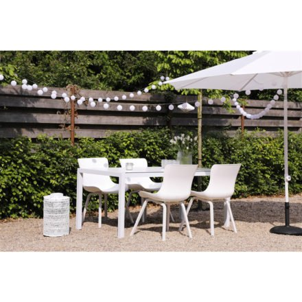 "Hartman ""Sophie Element"" Dining Chair, Gestell Aluminium royal white, Sitzschale royal white und ""Sophie Element"" Gartentisch, Gestell Aluminium white, HPL-Platte"
