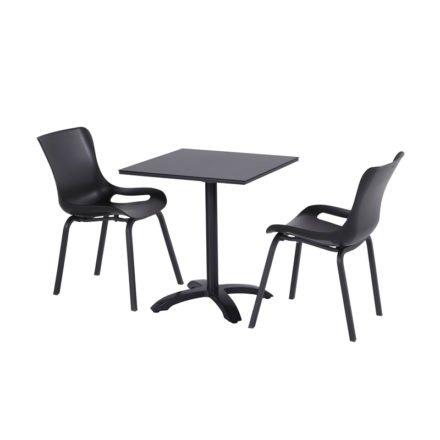"""Hartman """"Sophie Pro"""" Dining Chair, Gestell Aluminium carbon black, Sitzschale carbon black mit """"Sophie"""" Bistrotisch, carbon black"""