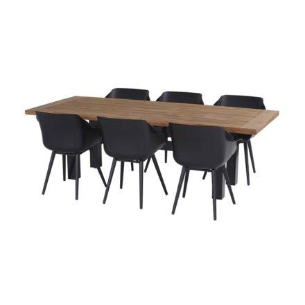 """Hartman """"Sophie Studio"""" Armchair, Gestell Aluminium carbon black, Sitzschale carbon black mit """"Sophie Yasmani"""" Gartentisch Gestell, Aluminium carbon black, Teakplatte"""