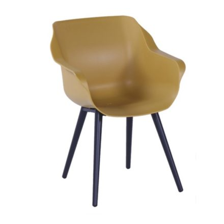 "Hartman ""Sophie Studio"" Armchair, Gestell Aluminium carbon black, Sitzschale curry yellow"