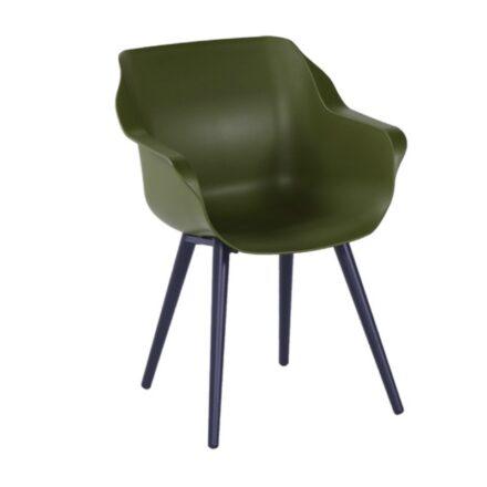 "Hartman ""Sophie Studio"" Armchair, Gestell Aluminium carbon black, Sitzschale moss green"