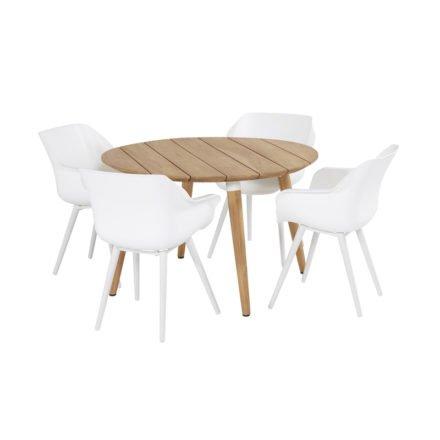 """Hartman """"Sophie Studio"""" Armchair, Gestell Aluminium royal white, Sitzschale royal white mit """"Sophie Studio"""" Gartentisch, Teakholz"""