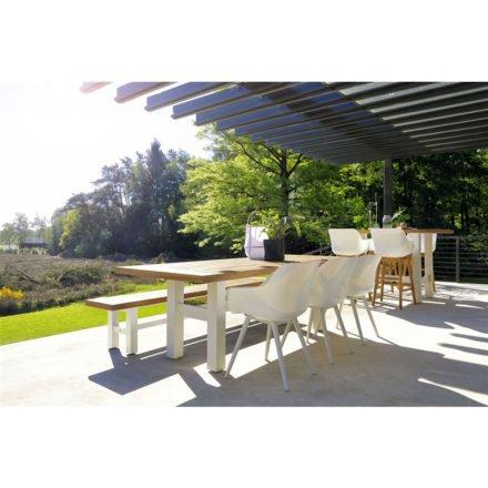 "Hartman ""Sophie Studio"" Armchair, Gestell Aluminium royal white, Sitzschale royal white mit ""Sophie Yasmani"" Gartentisch, Gestell Aluminium white, Teakplatte"