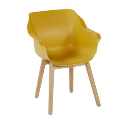 "Hartman ""Sophie Teak"" Armchair, Gestell Teakholz, Sitzschale Kunststoff curry yellow"