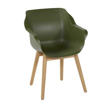 "Hartman ""Sophie Teak"" Armchair, Gestell Teakholz, Sitzschale Kunststoff moss green"