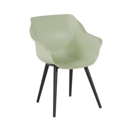 "Hartman ""Sophie Studio"" Armchair, Gestell Aluminium carbon black, Sitzfläche Kunststoff french green"