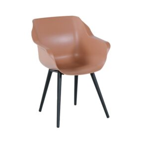 "Hartman ""Sophie Studio"" Armchair, Gestell Aluminium carbon black, Sitzfläche Kunststoff italian terra"