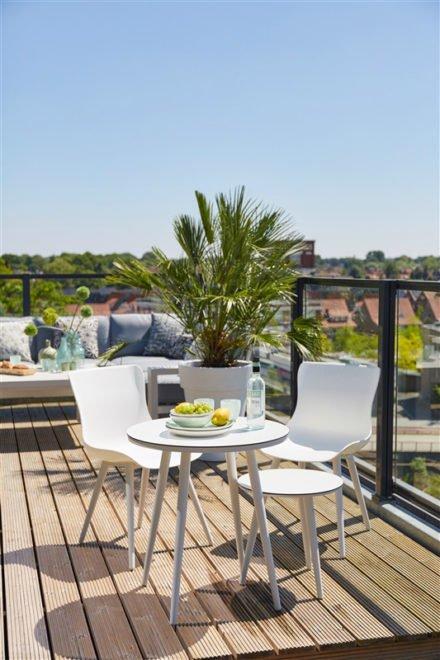 """Hartman """"Sophie Studio"""" Dining-Chair royal white mit Bistrotisch und Beistelltisch HPL/weiss"""